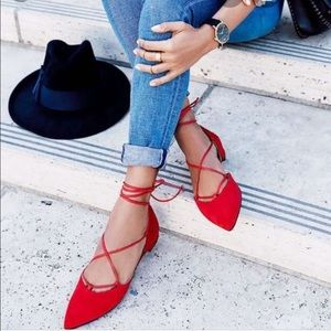 Stuart Weitzman Gillian red suede lace up flats 8